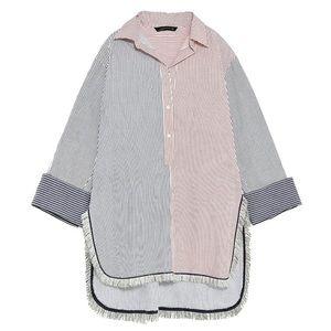 Zara Women's Oversized Striped Tunic Shirt. XS